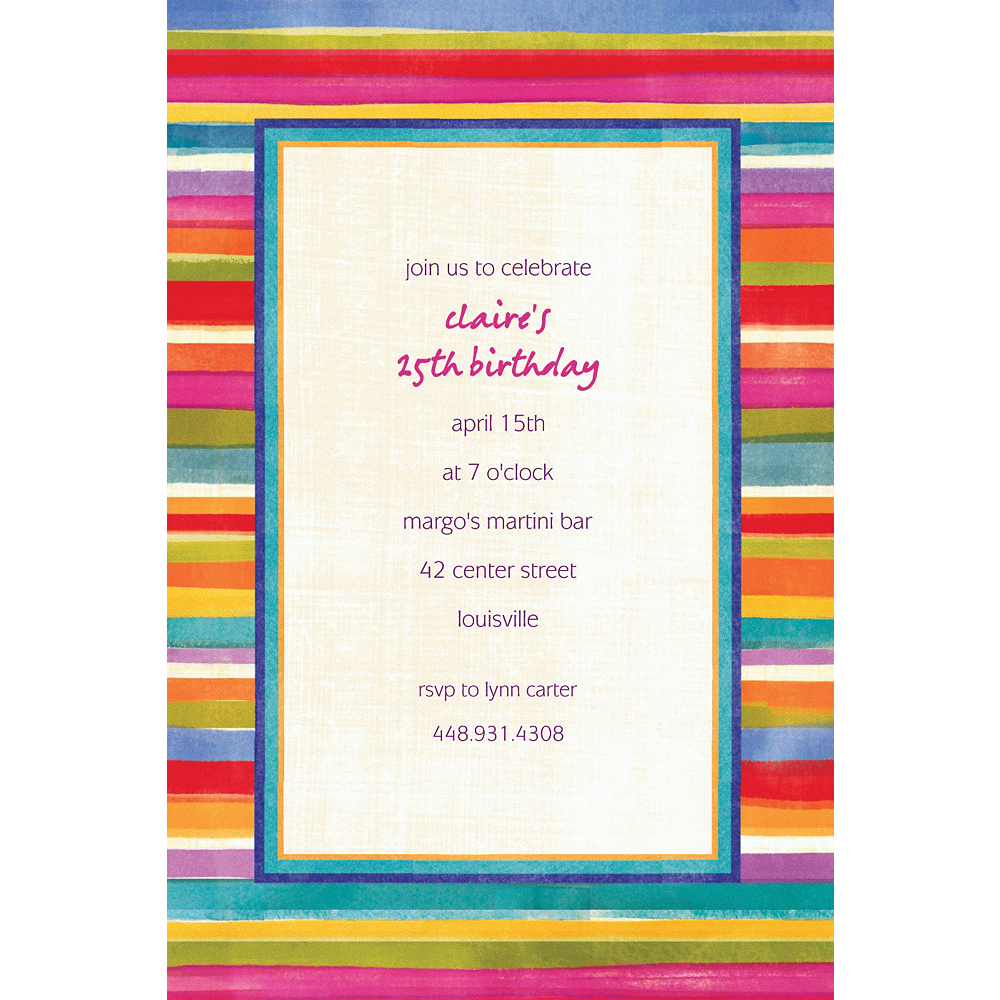 Custom Poppy Stripe Invitations Image #1