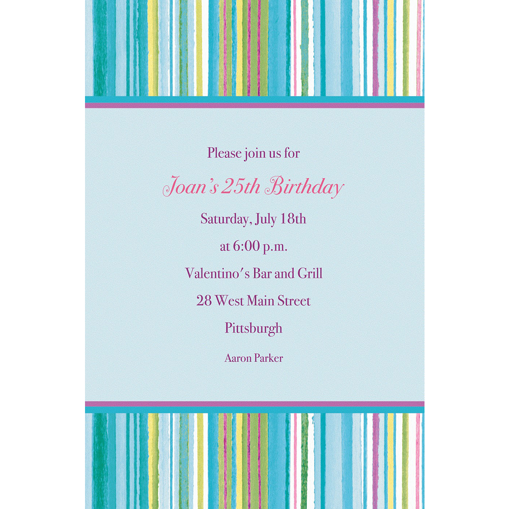 Custom Blue Watercolor Stripe Invitations Image #1