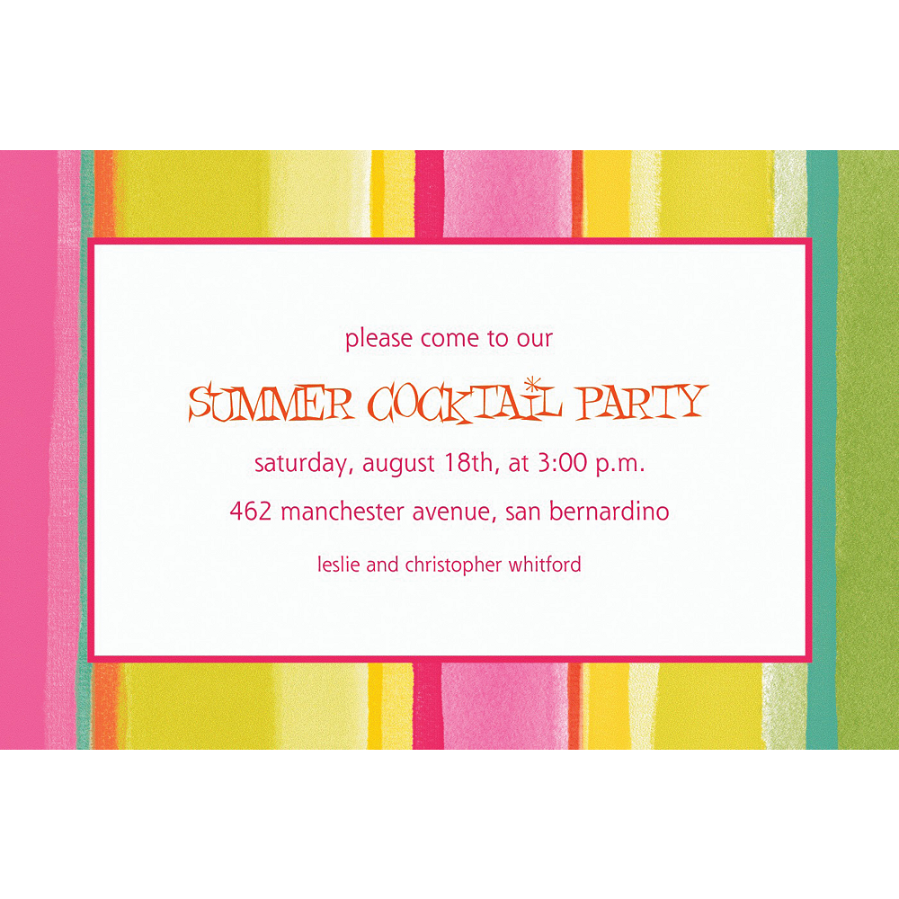 Nav Item for Custom Pink Sunny Stripe Invitations Image #1
