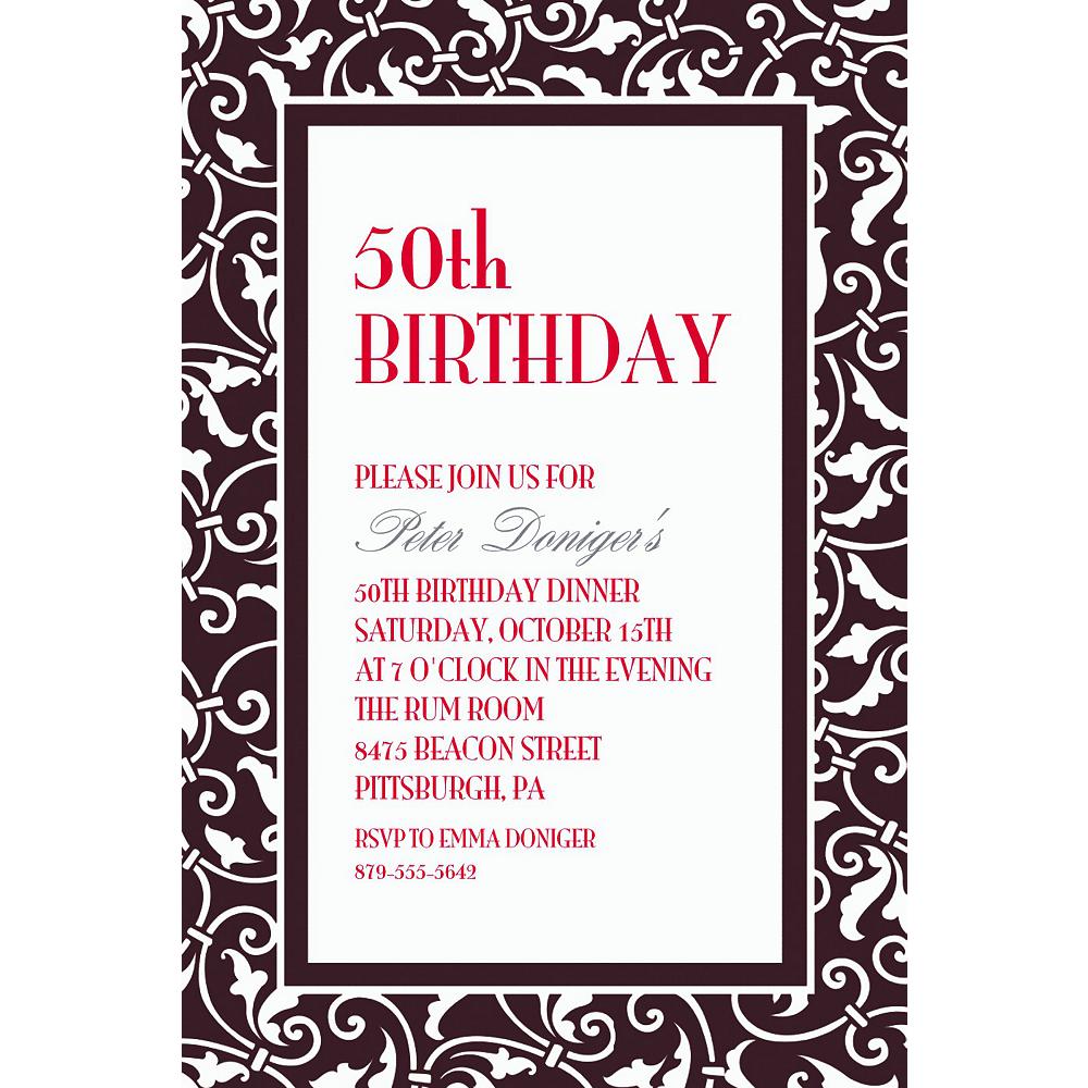 Custom Black Ornamental Scroll Invitations | Party City