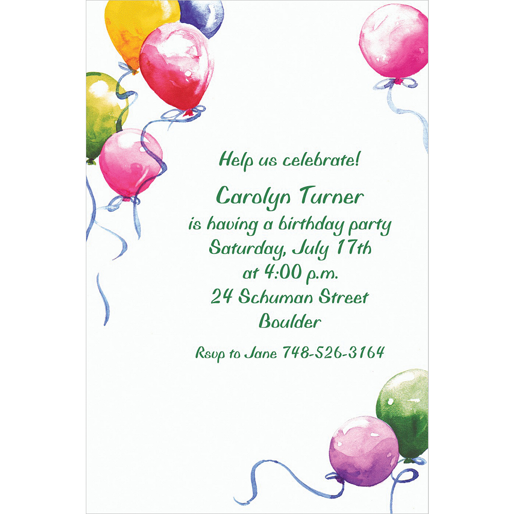 Custom Balloons Invitations Image #1