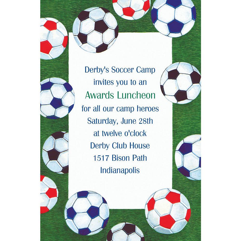 Custom Soccer Ball Border Invitations  Image #1