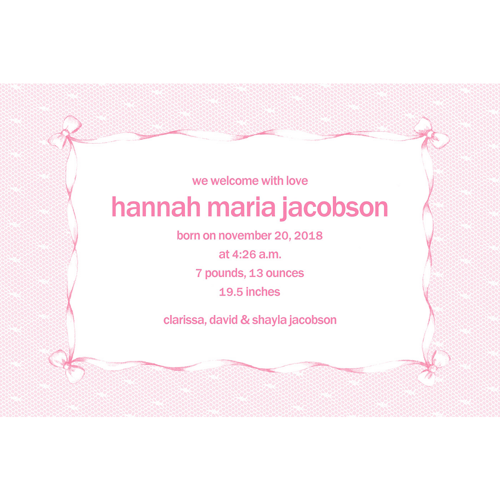 Custom Pink Lace & Bows Birth Announcements  Image #1