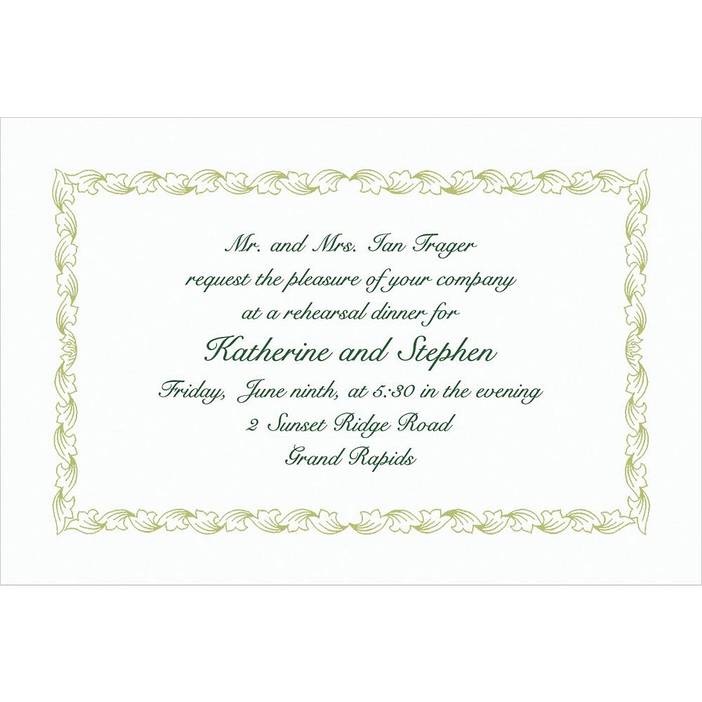 Custom Sage Leaf Scroll Invitations Image #1