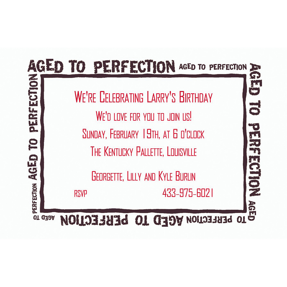 custom aged to perfection invitations party city