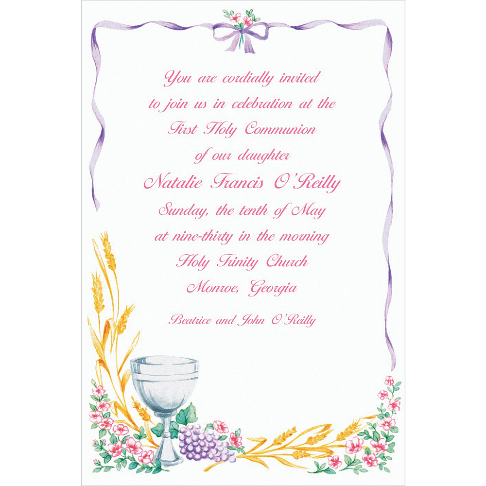 Custom Communion with Flowers Invitations Image #1