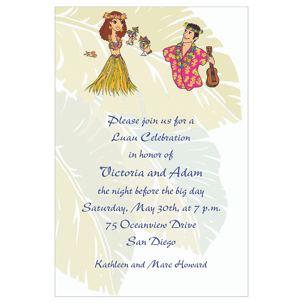 Custom Luau Couple Wedding Invitations  Image #1