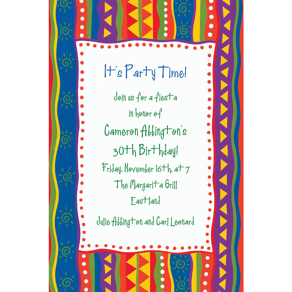 Custom Fiesta Stripes Invitations Image #1