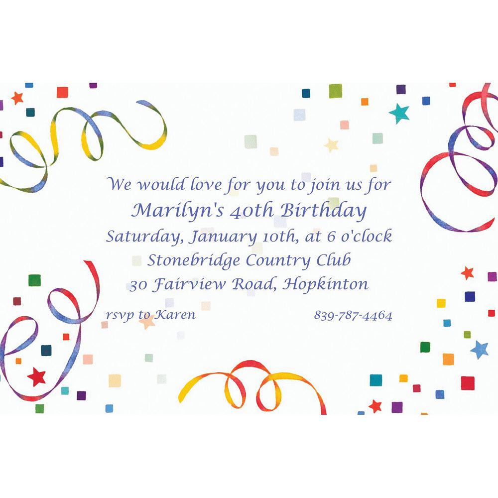 Custom Confetti & Streamers Invitations Image #1
