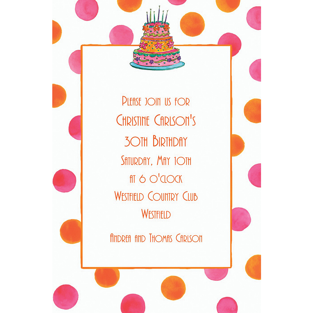 Custom Girly Cake With Dots Birthday Invitations | Party City
