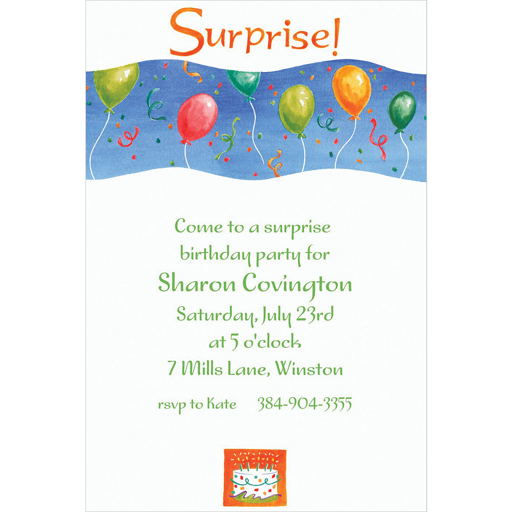 Custom Surprise with Balloons Invitations Image #1