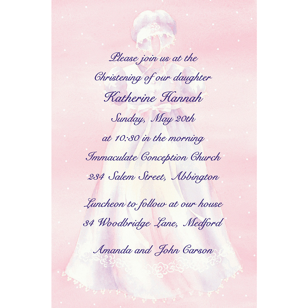 Custom White Gown on Pink Invitations Image #1