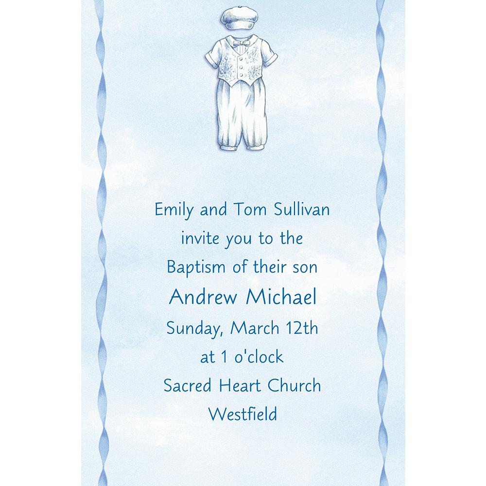Custom Christening Suit on Blue Invitations Image #1