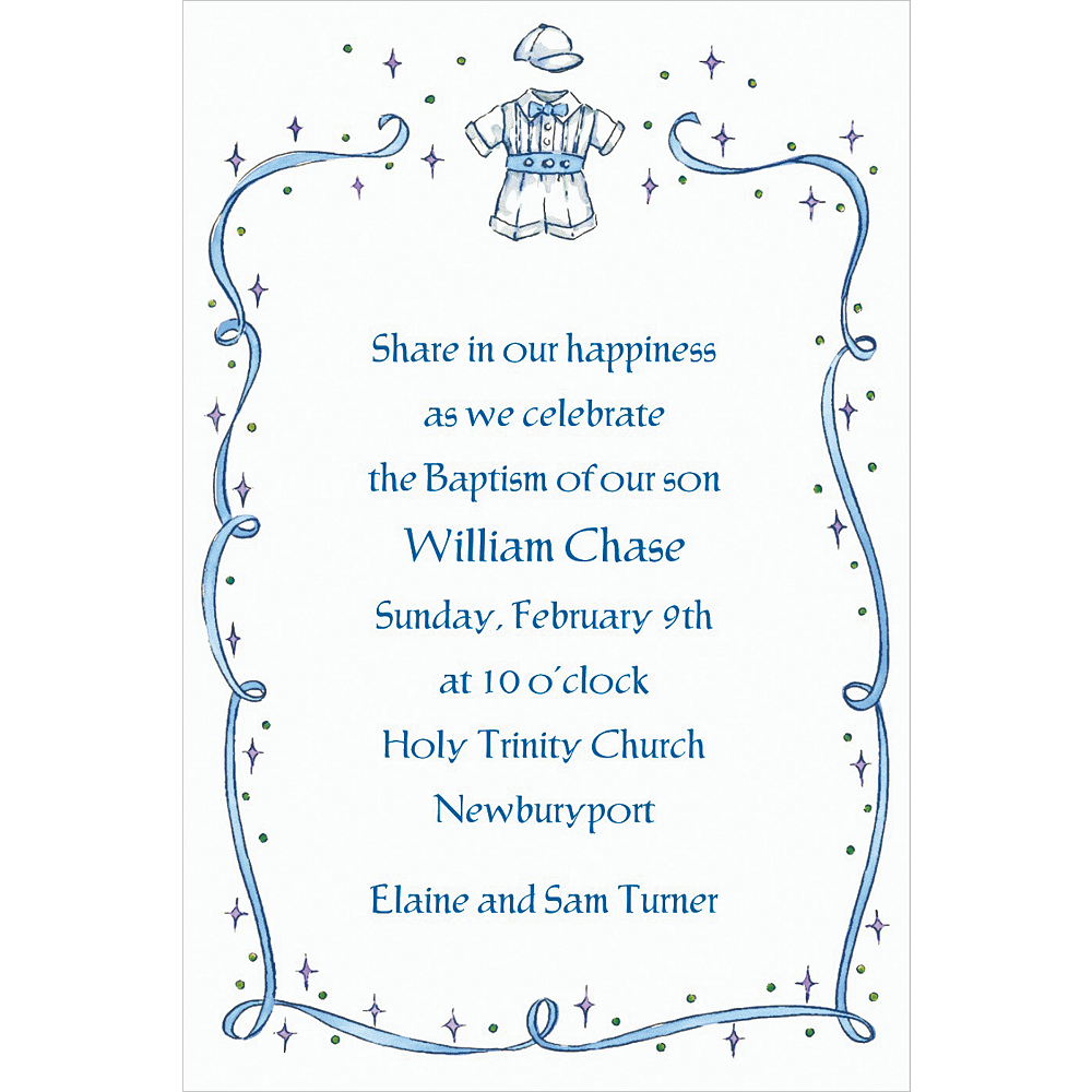 Custom Christening Suit with Blue Ribbon Invitations Image #1