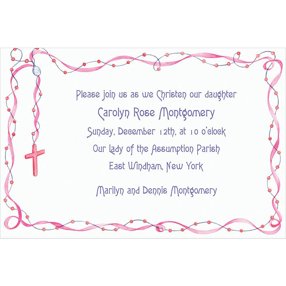 Custom Rosary with Pink Ribbon Invitations Image #1
