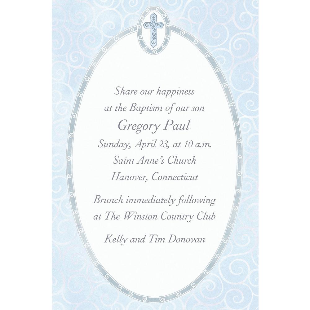 Custom Blue Cross with Filigree Invitations Image #1