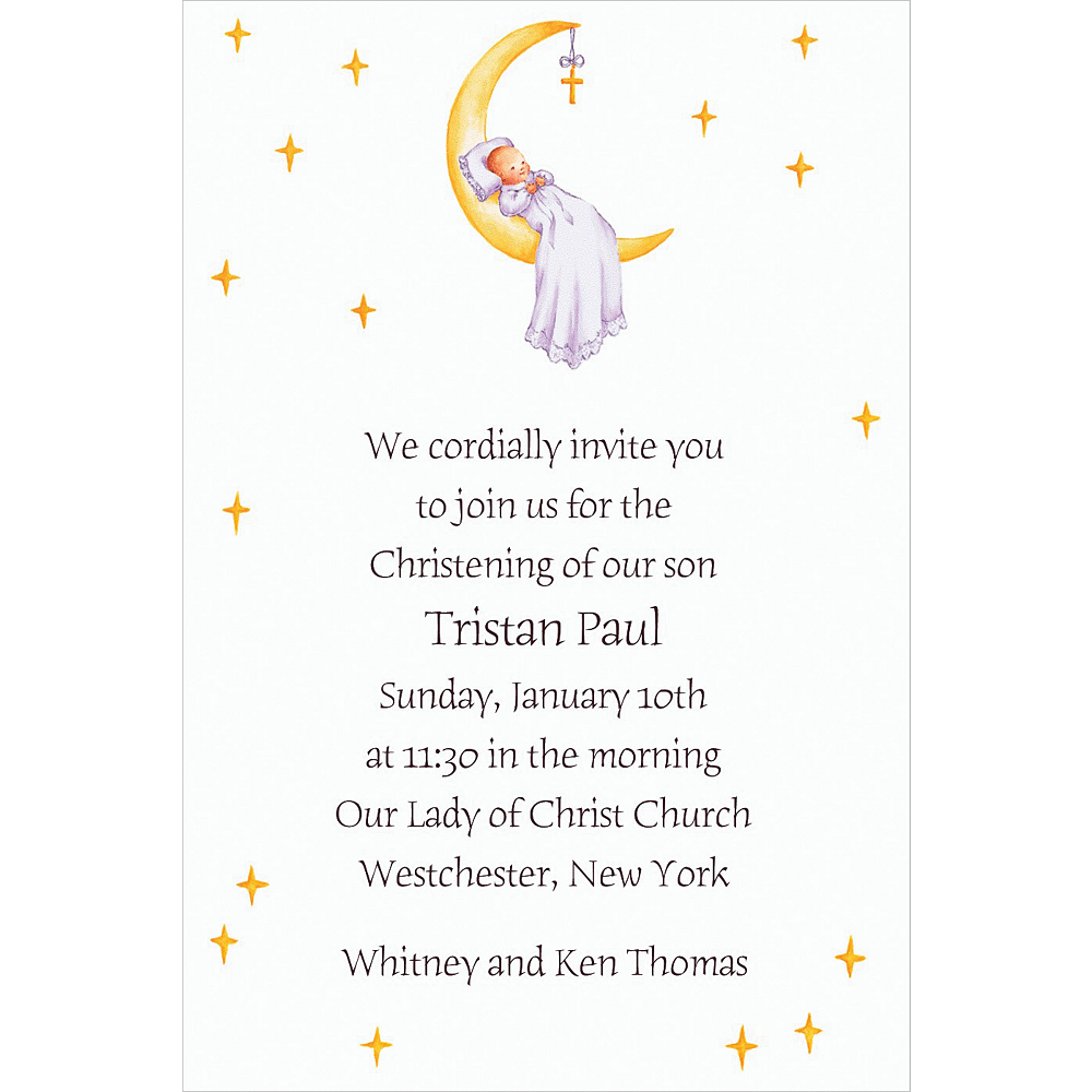 Custom Moon with Cross & Baby Invitations Image #1