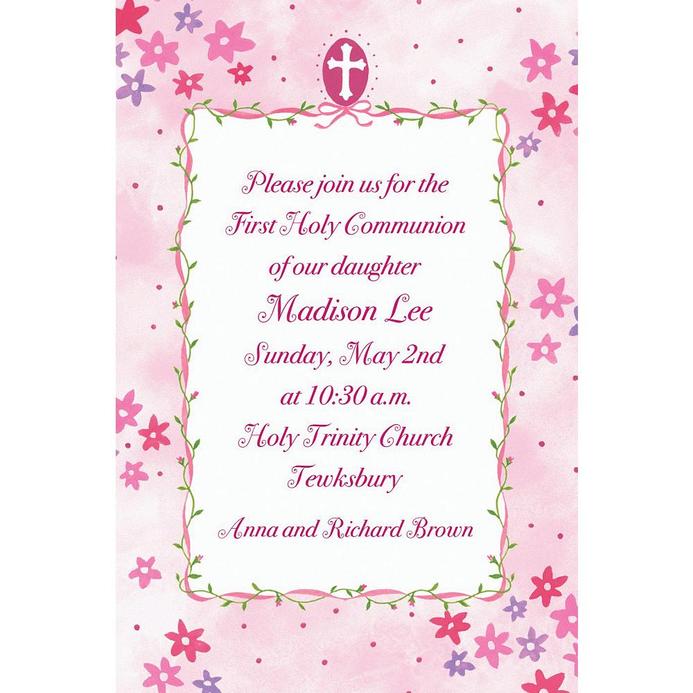 Custom Cross with Pink Buds Invitations Image #1