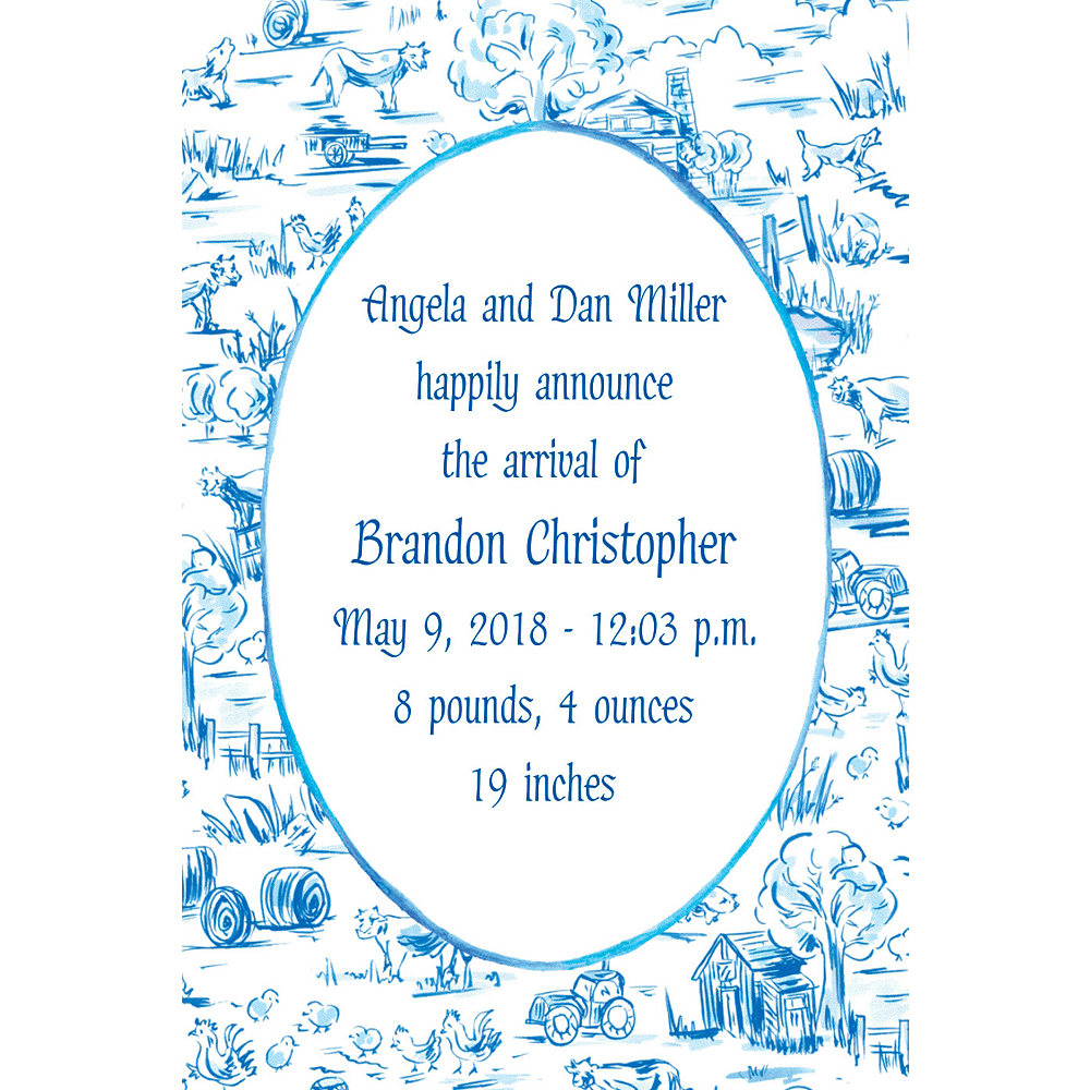 Custom Old MacDonald Toile Birth Announcements  Image #1