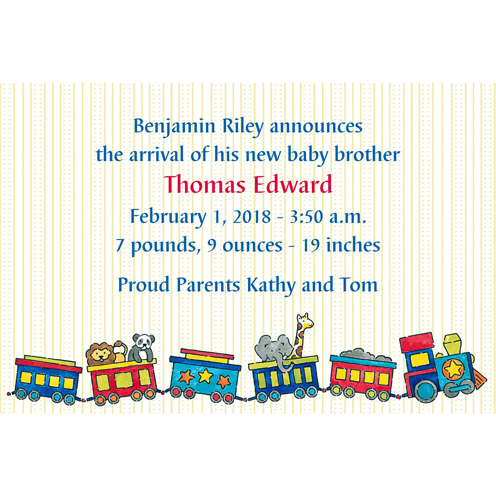 Custom Little Trains Birth Announcements Image #1