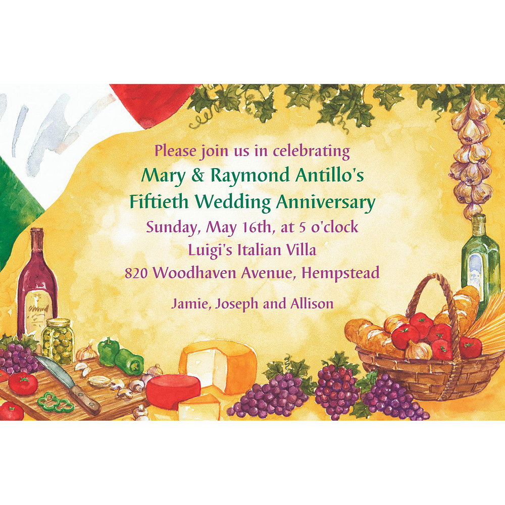 Custom Italian Dinner Party Invitations Image #1