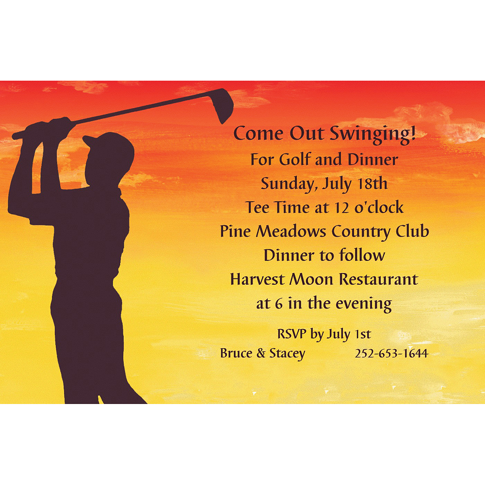 Custom Sunrise Golfer Invitations Image #1