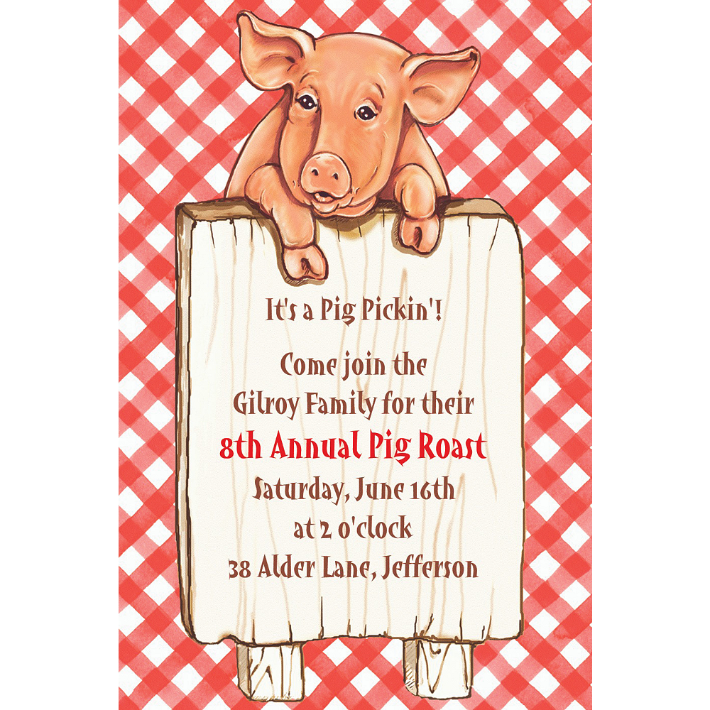 Custom Pig with Sign Invitations Image #1