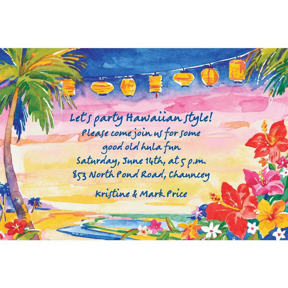 Custom Pretty Luau Sunset Luau Invitations Image #1