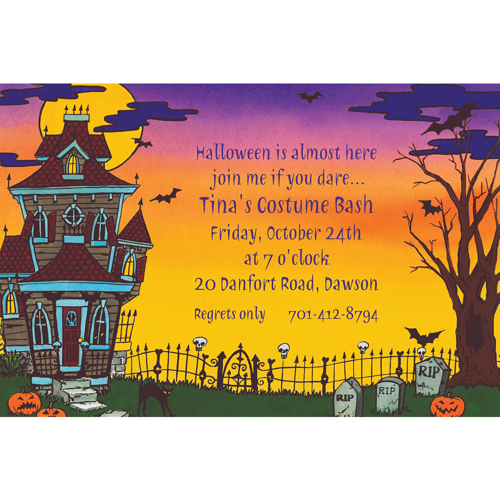 Custom Haunted House Halloween Invitations Image #1