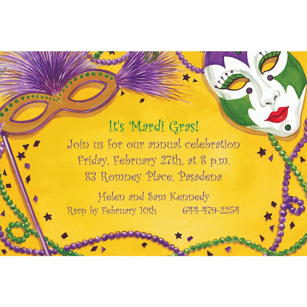 Custom Mardi Gras Masks Invitations Image #1