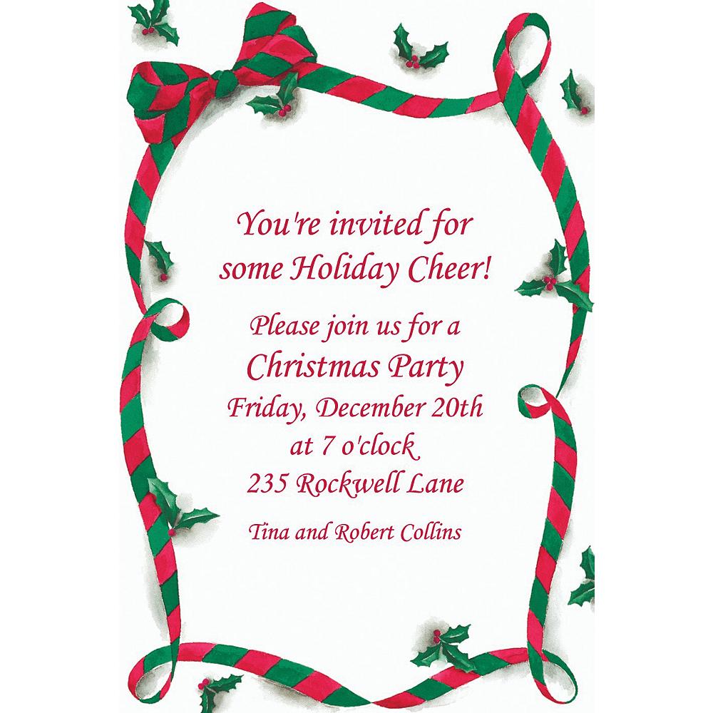 Custom Christmas Ribbon with Holly Invitations Image #1