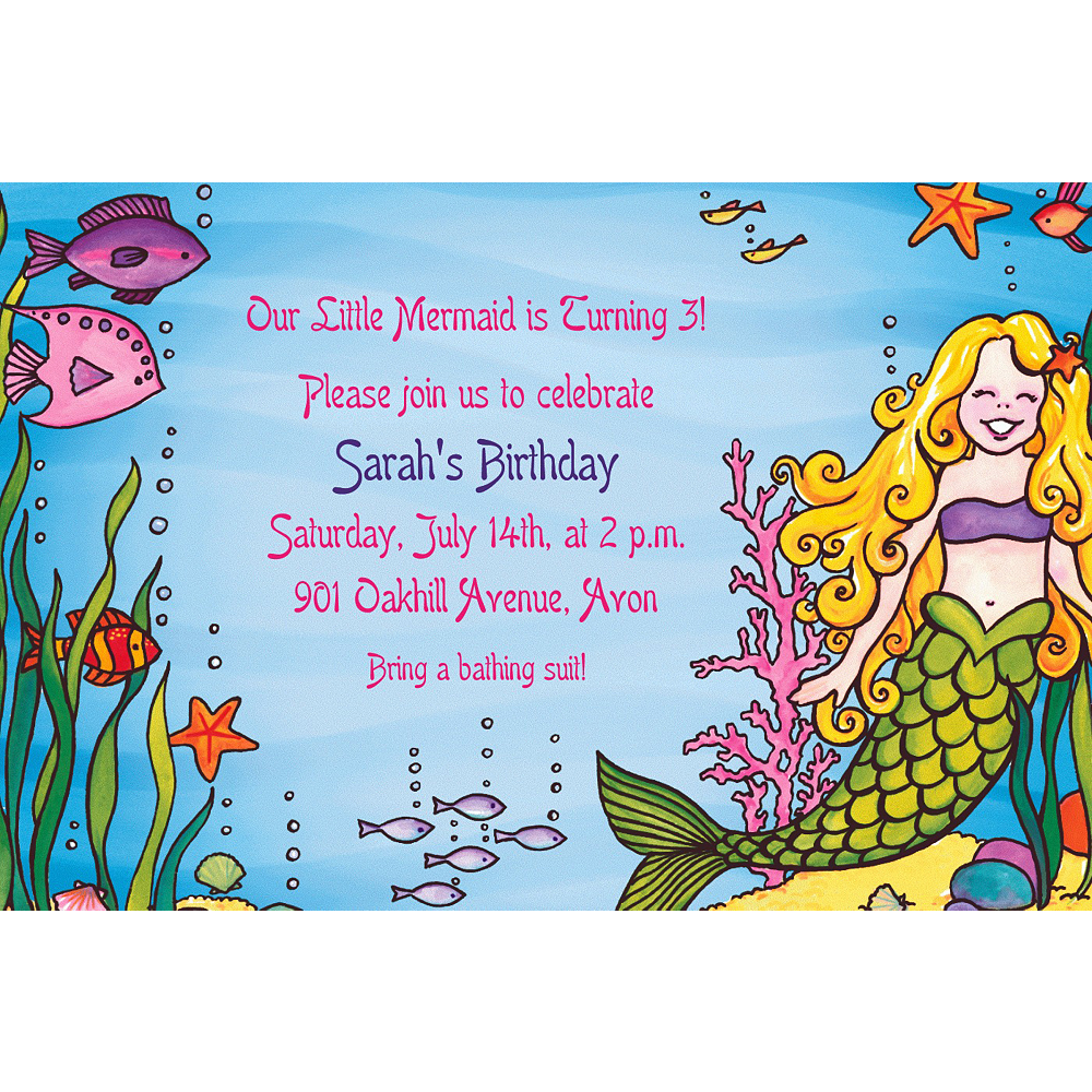 Custom Underwater Mermaid Invitations Image 1