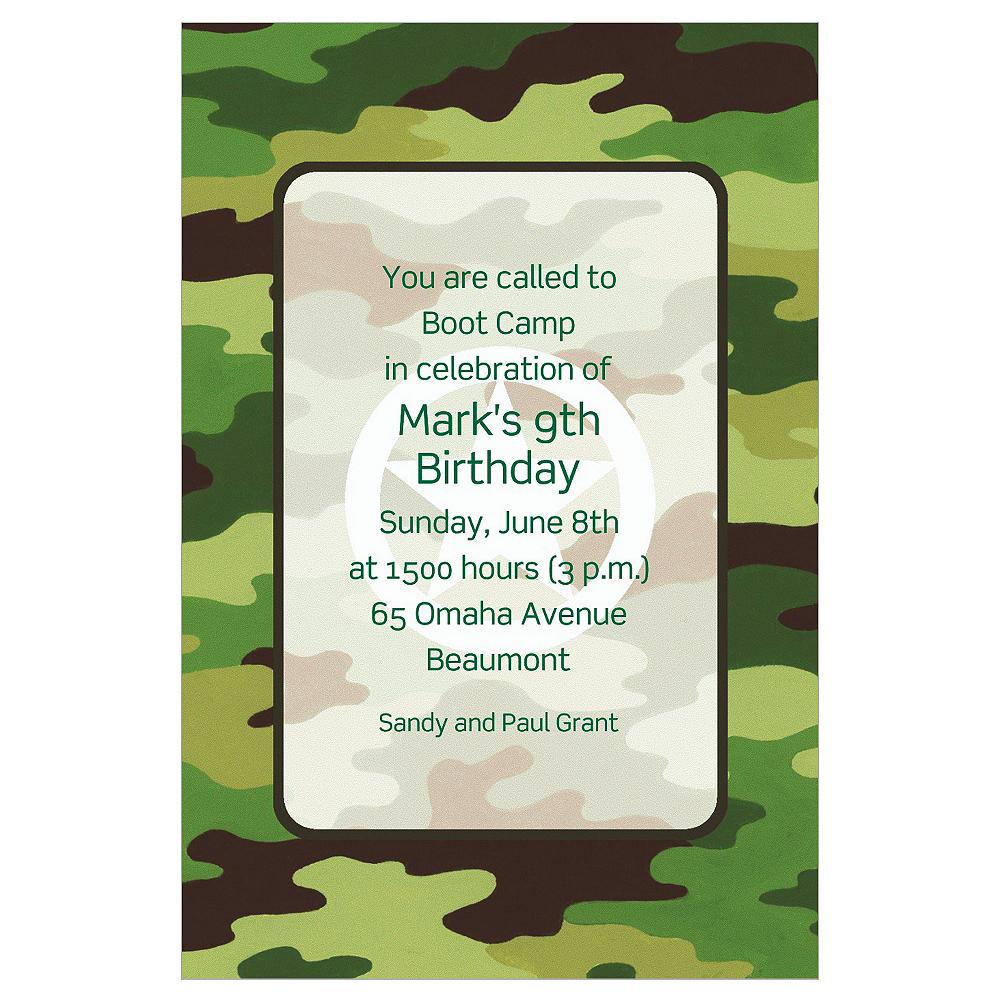 Custom Green Camouflage Invitations