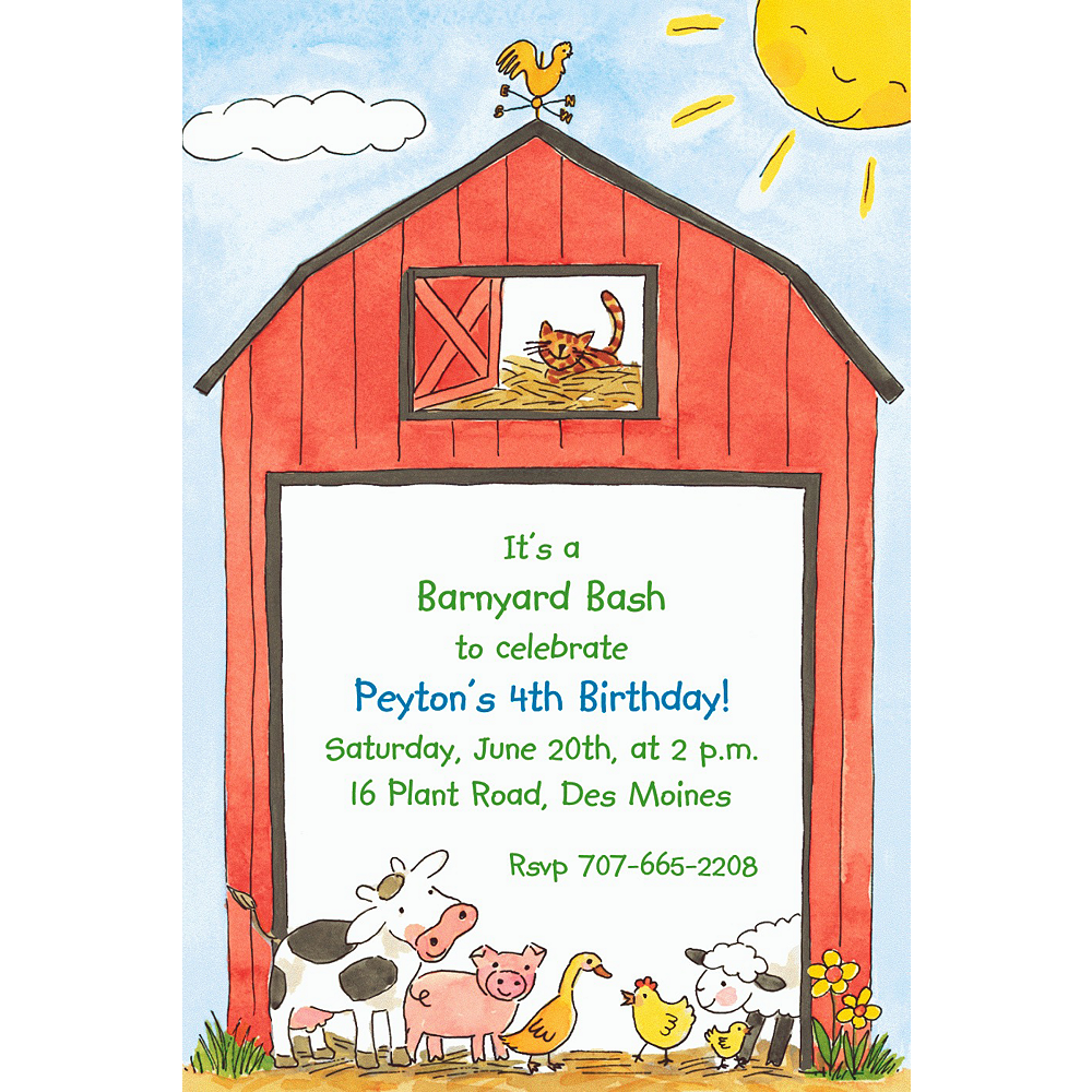 Custom Barnyard Animals Invitations  Image #1