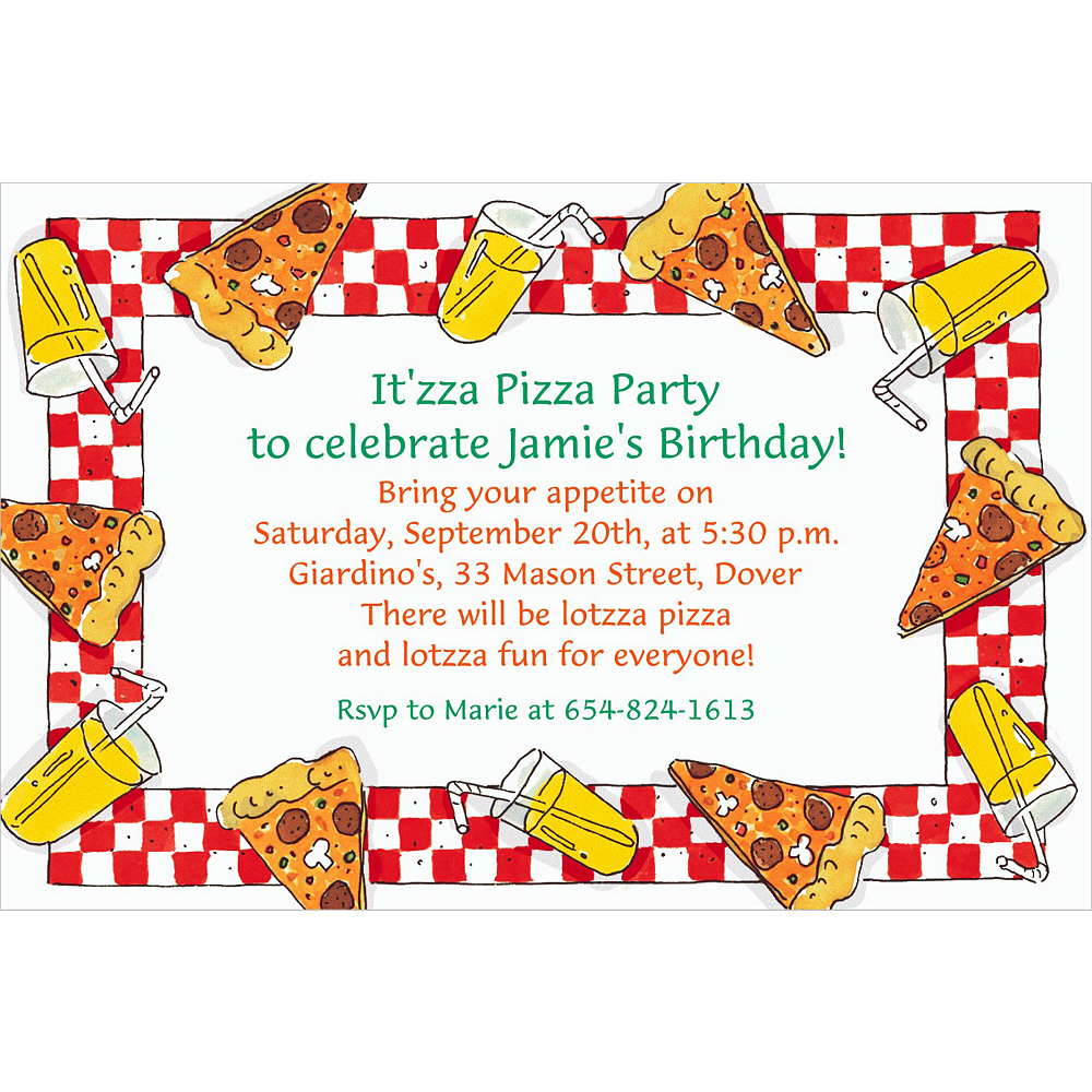 Nav Item for Custom Pizza Party Border Invitations Image #1