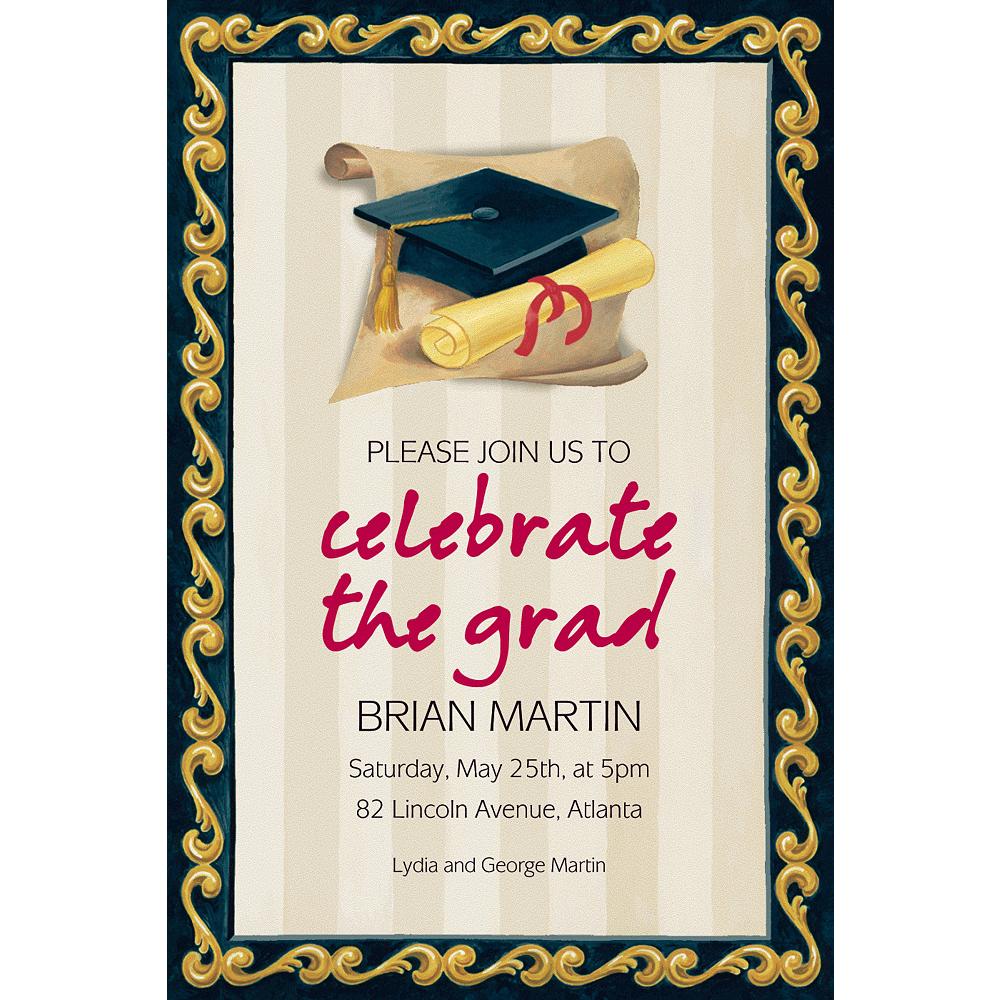 Custom Black Grad Portrait Graduation Invitations  Image #1