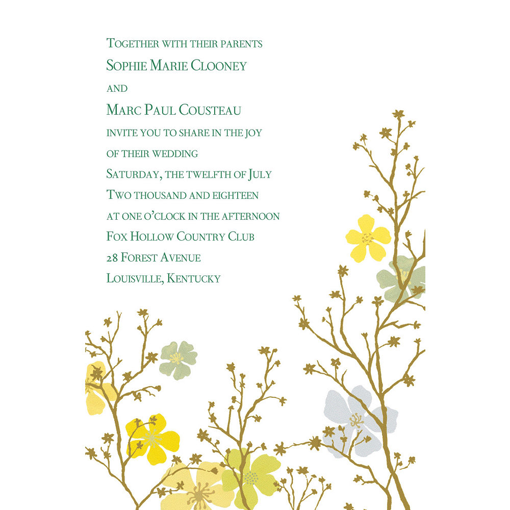 Custom Brilliant Blooms & Branches Invitations Image #1