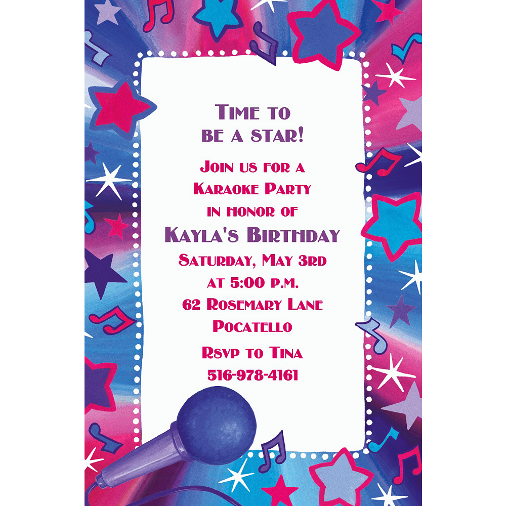 Custom Rock Star Karaoke Invitations Image #1