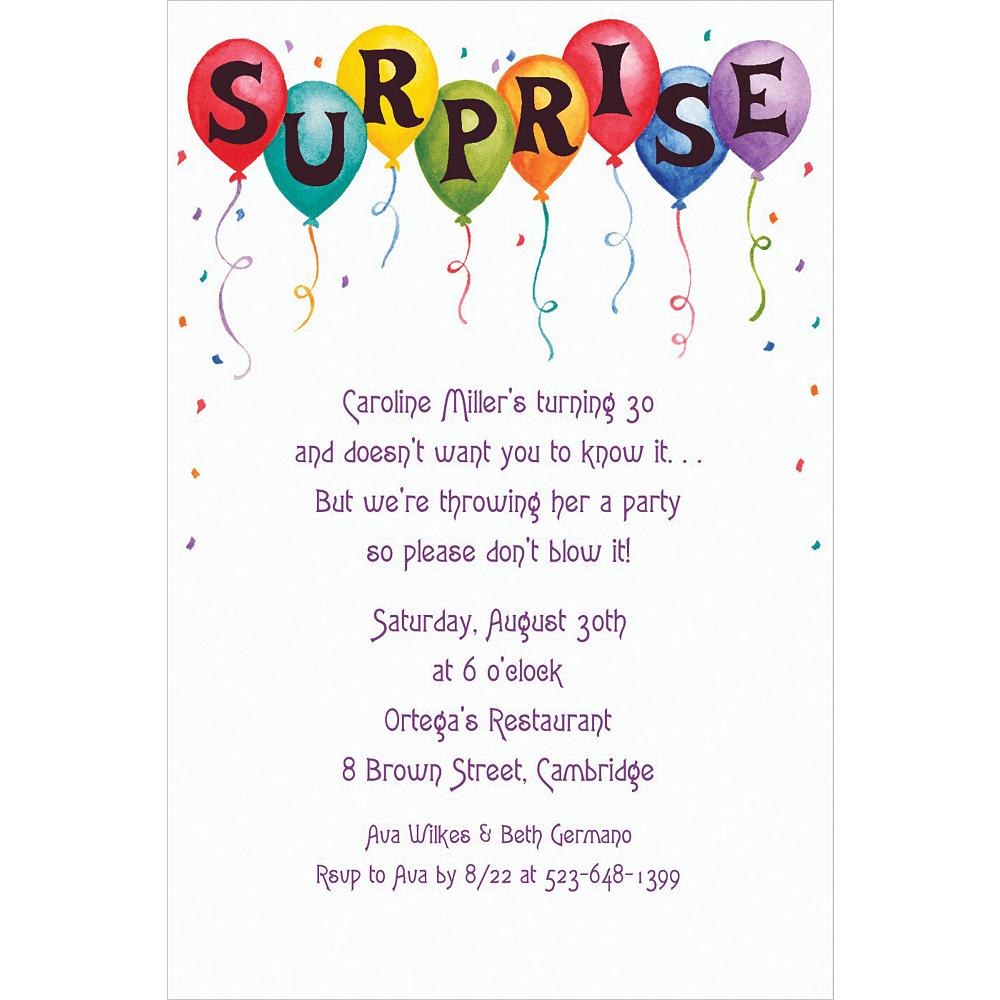 Custom Surprise in Balloons Invitations Image #1