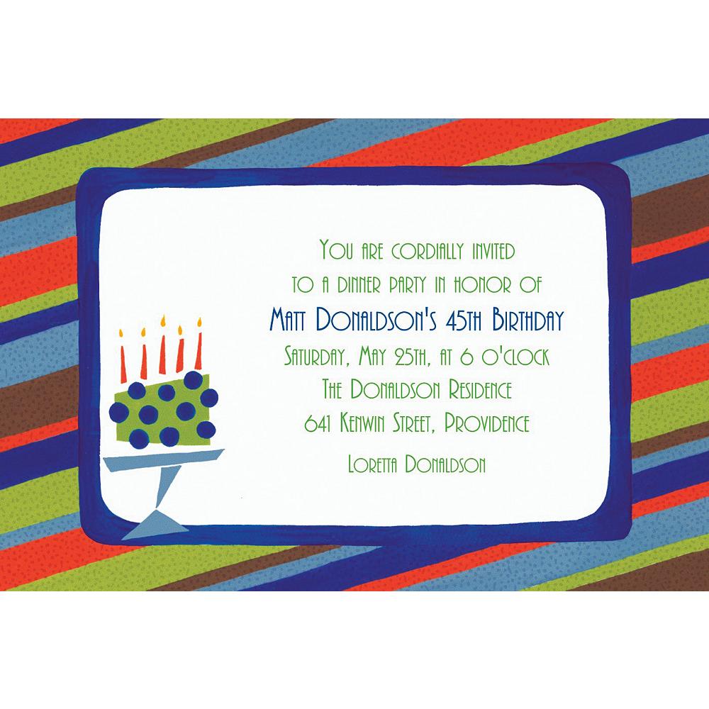 Custom Fetching Cake on Stripe Invitations Image #1