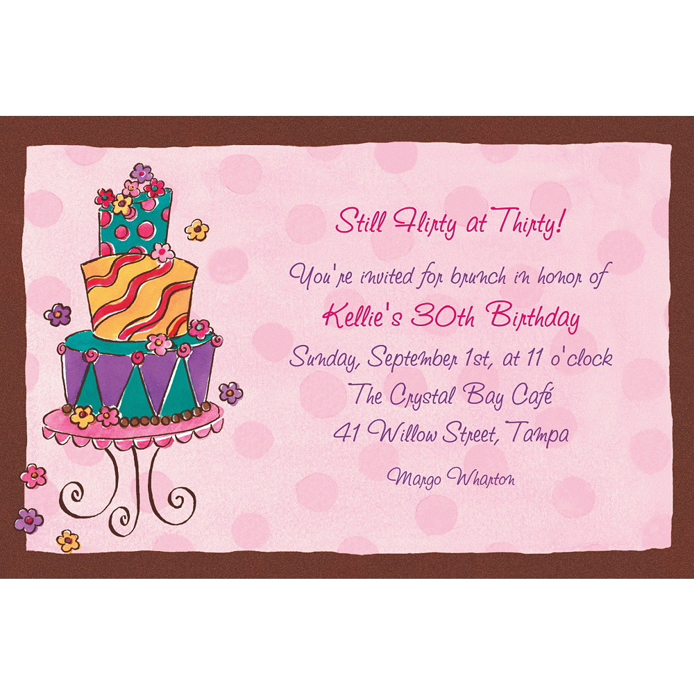 Custom Girly Cake Birthday Invitations Image #1