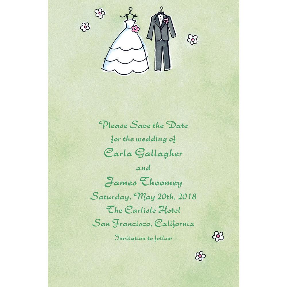 Custom Bride & Groom Outfits Bridal Shower Invitations Image #1