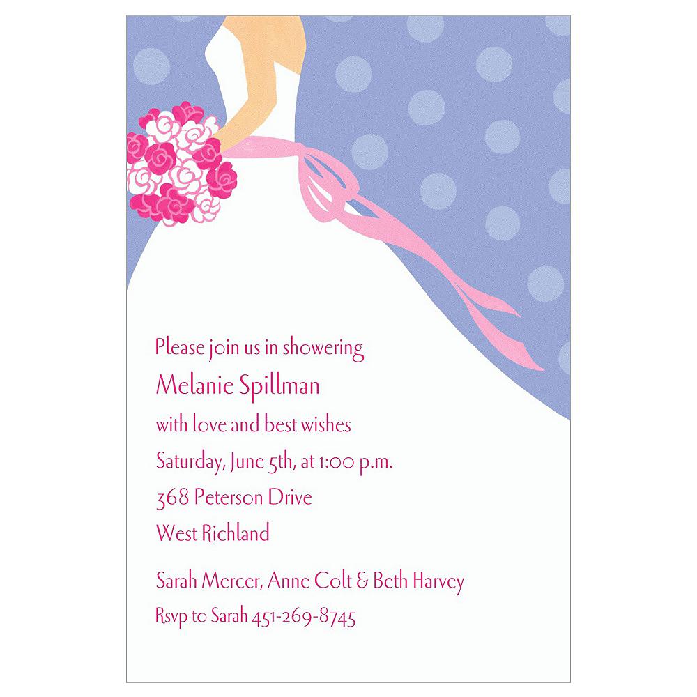 Custom Bride on Blue Background Bridal Shower Invitations Image #1
