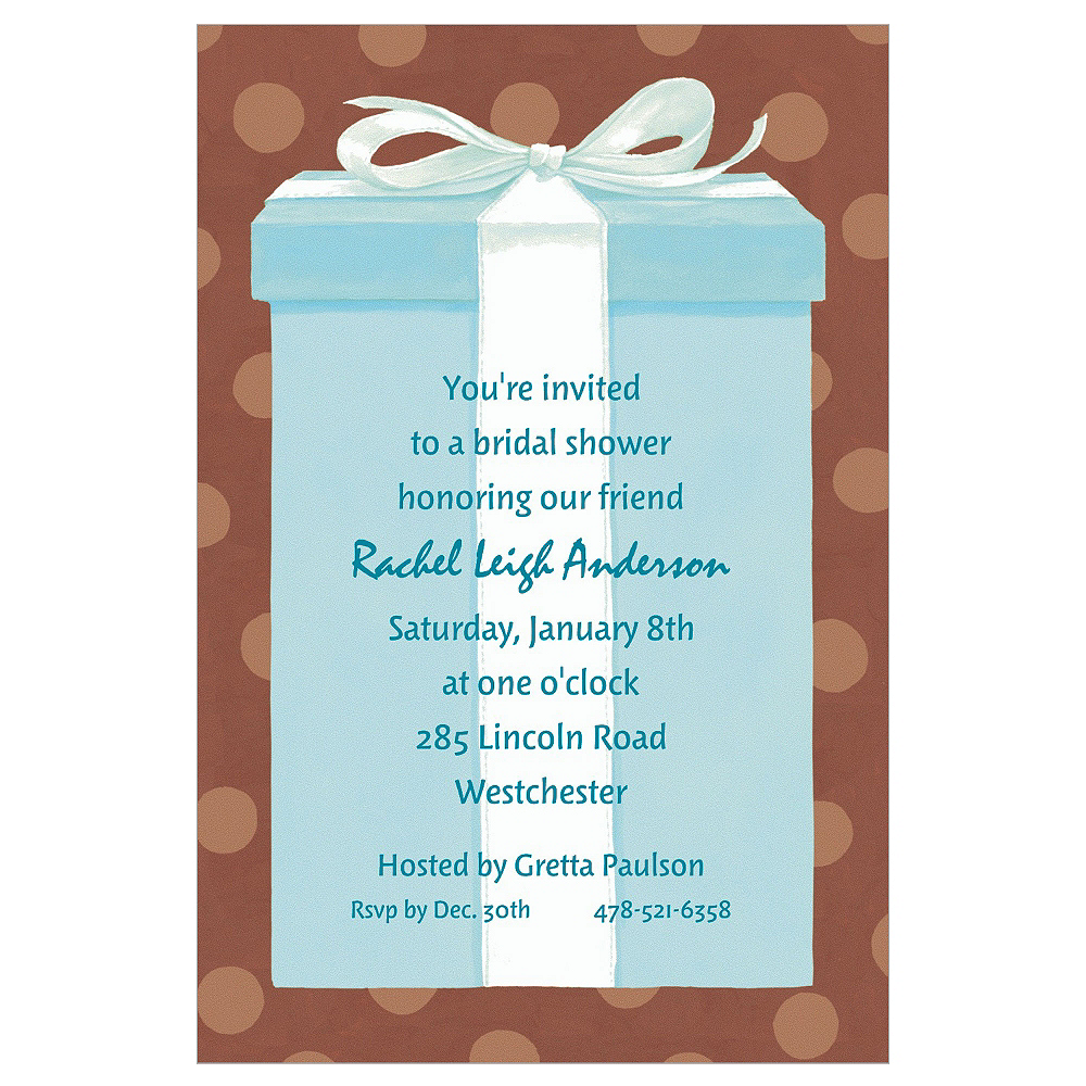 Custom The Special Gift Box Bridal Shower Invitations Image #1