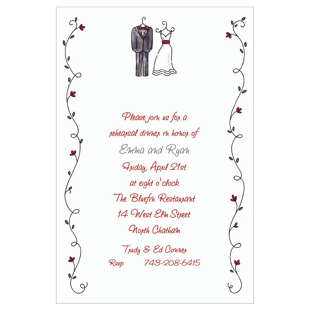 Custom Little Outfits & Vines Wedding Invitations Image #1