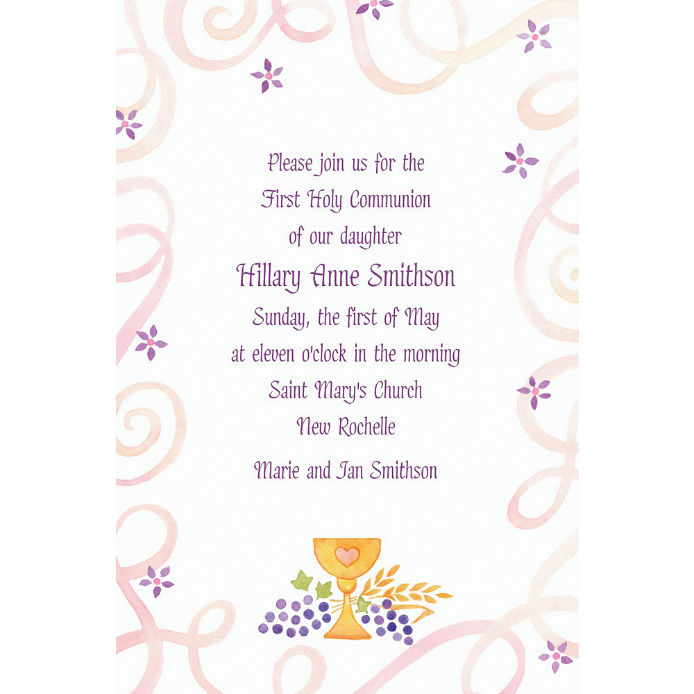 Custom Pretty Chalice & Flowers Invitations Image #1