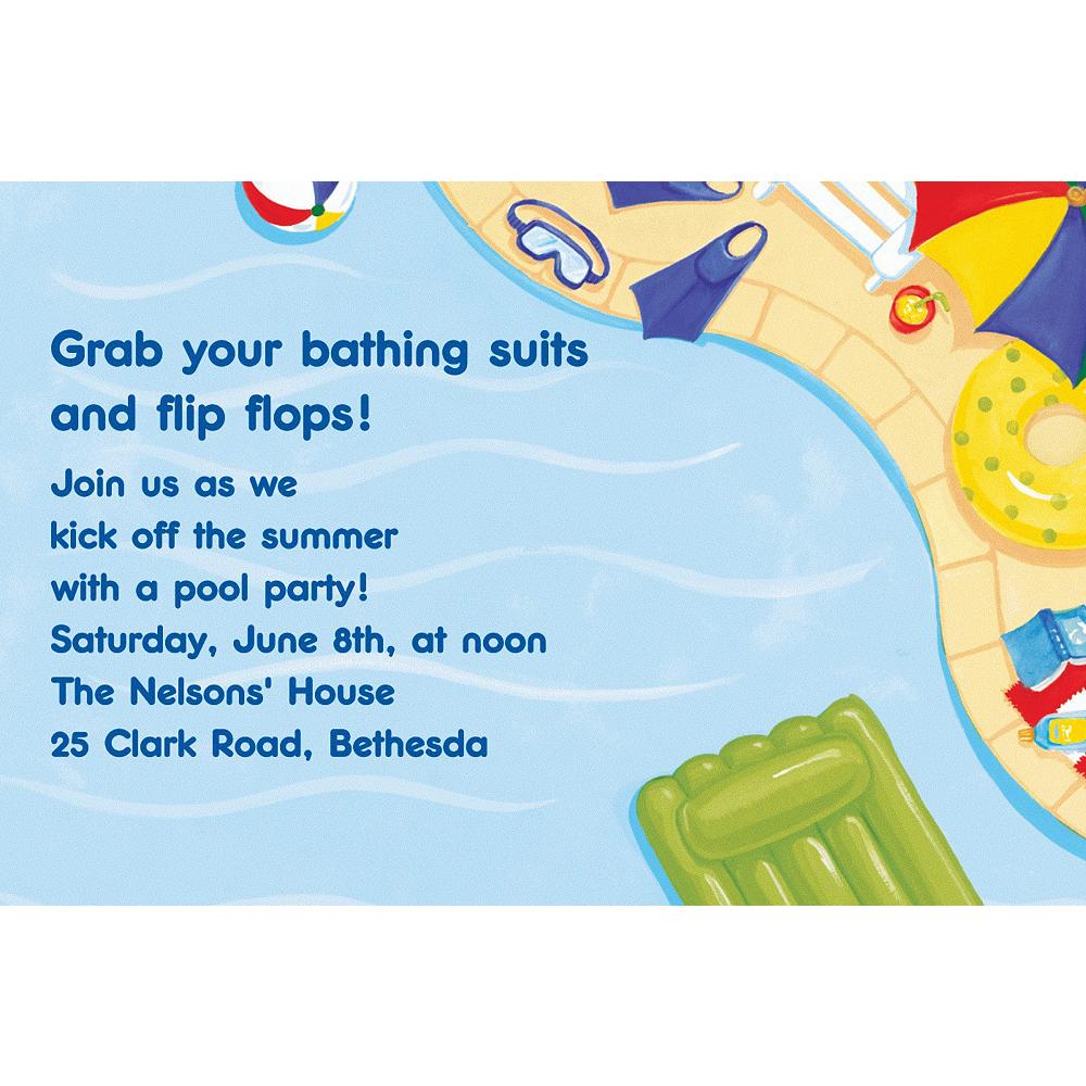 Custom Summer Pool Party Invitations Image #1