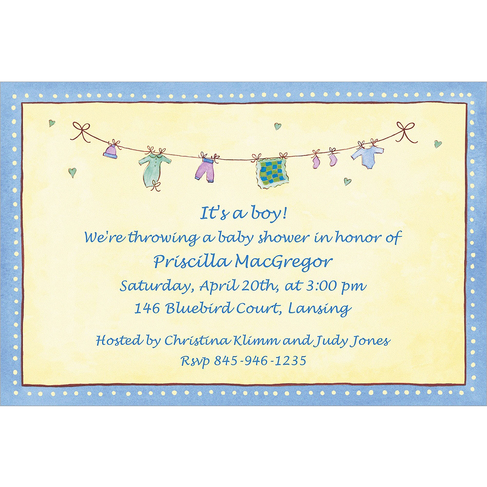 Custom Boy Laundry Baby Shower Invitations Image #1