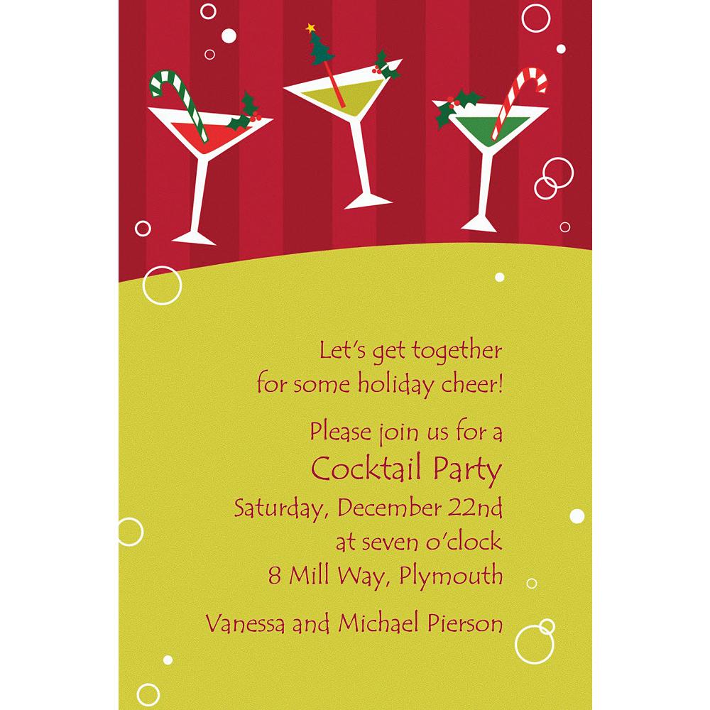 Custom Merry Martinis Christmas Invitations Image #1