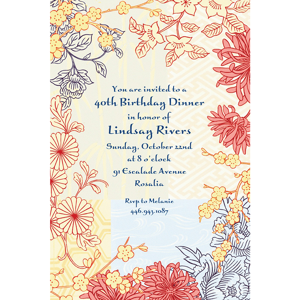 Custom Asian Pastiche Invitations Image #1